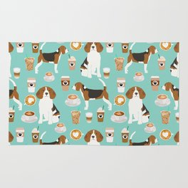 Beagle coffee print cute dog beagles coffees lattes Rug
