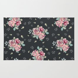 Country Rose on Inky Black Rug