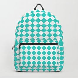White and Turquoise Diamonds Backpack