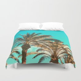 Tropical Palm Trees  - Vintage Turquoise Sky Duvet Cover
