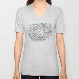 Sketched bird and flowers Unisex V-Neck