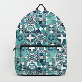 Spanish moroccan tiles inspiration // turquoise green silver lines Backpack
