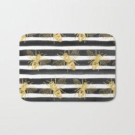 Golden bee noir Bath Mat