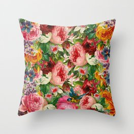 Colorful Floral Pattern   Je t'aime encore Throw Pillow