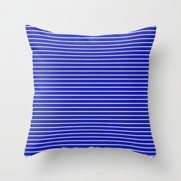 Royal Blue and White Horizontal Stripes Throw Pillow
