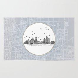Detroit, Michigan City Skyline Illustration Drawing Rug