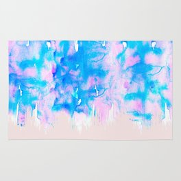 Girly Pastel Pink and Blue Watercolor Paint Drips Rug