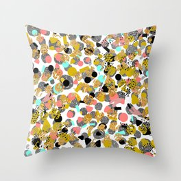 LOLA - abstract art painting modern trendy colors, gold foil, dots pattern decor Throw Pillow