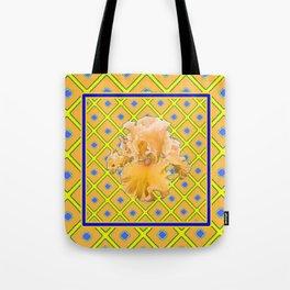 Peachy German Iris Blue & Yellow Art Tote Bag