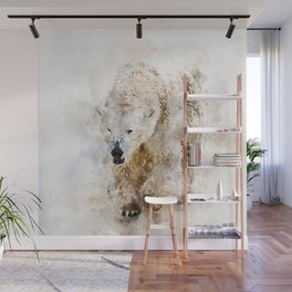 Abstract watercolor polar bear Wall Mural