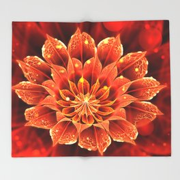 Red Dahlia Fractal Flower with Beautiful Bokeh (Vivid Crimson) Throw Blanket