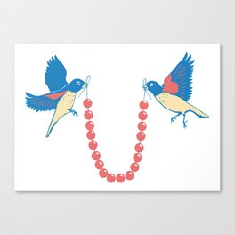 Birds and necklace Canvas Print