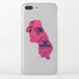 MARCUS AURELIUS ANTONINUS AUGUSTUS / prussian blue / vivid red Clear iPhone Case