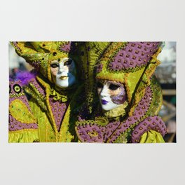 Glamorous Couple With Carnival Costumes Rug