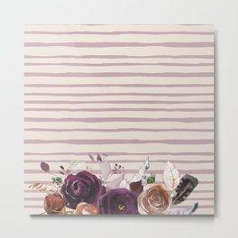 Artistic hand painted burgundy lilac bohemian floral stripes Metal Print