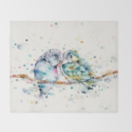 Mr & Mrs Snugglepots [pacific parrotlets] Throw Blanket