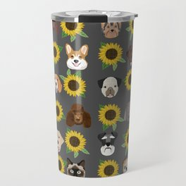 Dogs and cats pet friendly sunflowers animal lover gifts dog breeds cat person Travel Mug