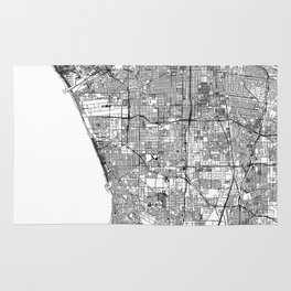 Los Angeles White Map Rug