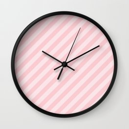 Light Millennial Pink Pastel Candy Cane Stripes Wall Clock
