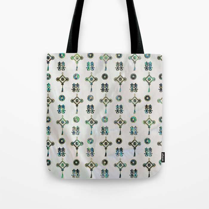 Gold And Abalone Shell Lucky Chinese Symbols Pattern Tote Bag By
