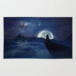 lonely wolf Rug