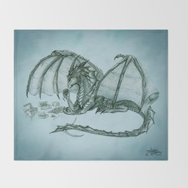 """Material Girl"" by Amber Marine ~ (Sea Mist Version) Graphite Dragon Illustration, (Copyright 2005) Throw Blanket"
