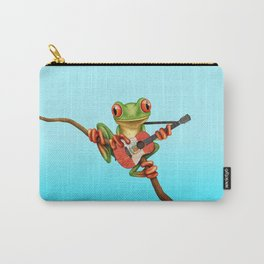 Tree Frog Playing Acoustic Guitar with Flag of Peru Carry-All Pouch