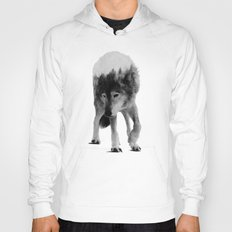 Wolf In The Woods (black & white version) Hoody