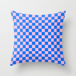 Cotton Candy Pink and Brandeis Blue Checkerboard Throw Pillow