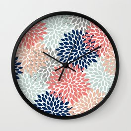 Floral Bloom Print, Living Coral, Pale Aqua Blue, Gray, Navy Wall Clock