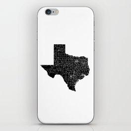 Texas Black Map iPhone Skin