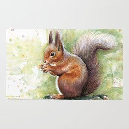 Squirrel Watercolor Painting Rug