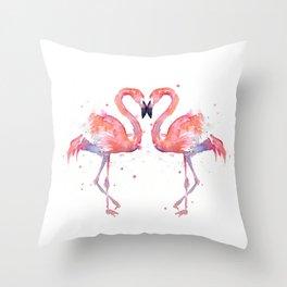 Pink Flamingo Love Two Flamingos Throw Pillow