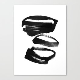Black and White Abstract Shapes Ink Painting Canvas Print