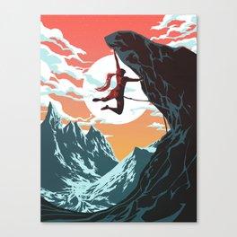 Rock Climbing Girl Vector Art Canvas Print