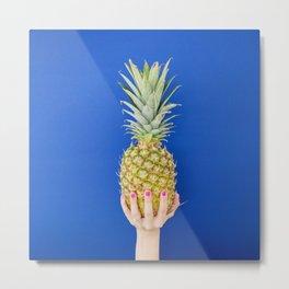 Blue Pineapple Metal Print