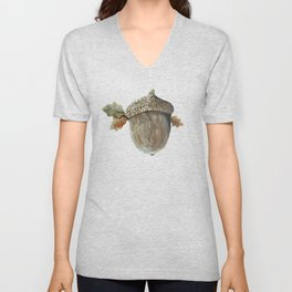 Fall acorn and oak leaves Unisex V-Neck