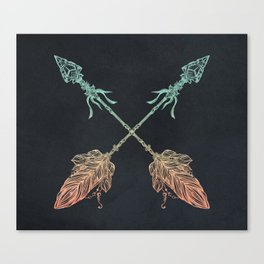 Arrows Turquoise Coral on Navy Canvas Print