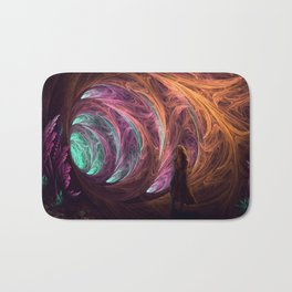 Towards The Light - Alice in Wonderland - White Rabbit - Fractal Bath Mat