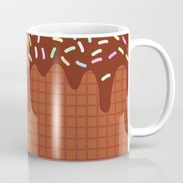 chocolate waffles with flowing chocolate sauce and sprinkles Coffee Mug