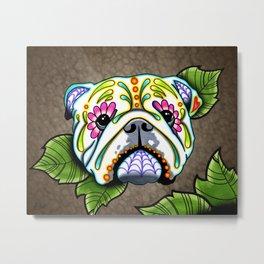 English Bulldog - Day of the Dead Sugar Skull Dog Metal Print