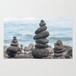 Chorten Rocks on Beach Rug