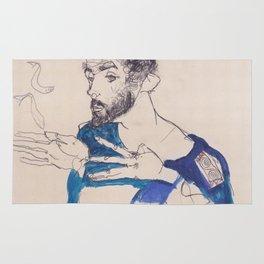"""Egon Schiele """"Gustav Klimt im blauen Malerkittel"""" Rug"""