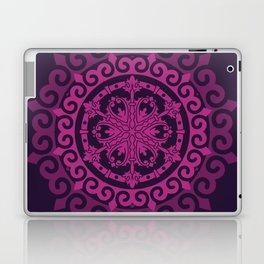 Pink Mandala on Dark Purple Laptop & iPad Skin