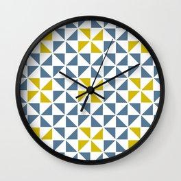 Pinwheel Quilt Blue and Yellow Wall Clock