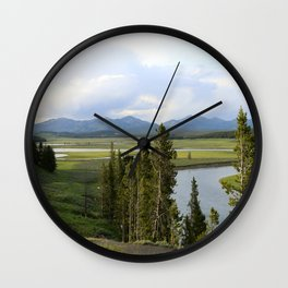 Yellowstone River Valley View Wall Clock