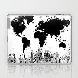 world map city skyline 4 Laptop & iPad Skin