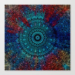 Bohemian Passion Blue & Red Mandala Design Canvas Print