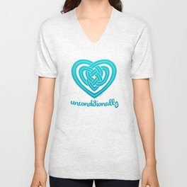UNCONDITIONALLY in teal Unisex V-Neck