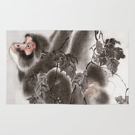Monkey Hanging from Grapevines Rug